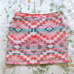 LF Promod Kilim Embroidered Neon Aztec Mini Skirt